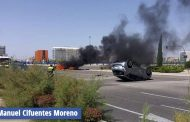 Ilesos los ocupantes y conductores de dos vehículos tras un fuerte accidente en la rotonda del Ensanche de Vallecas con M-45