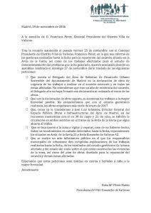 Escrito al Ayuntamiento desde la AV Pau del Ensanche de Vallecas