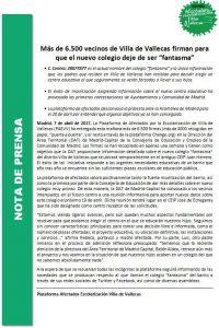 Nota de prensa de la Plataforma de afectados por la escolarización en Villa de Vallecas