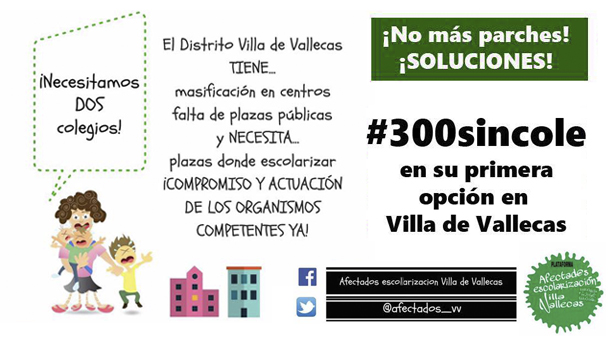 300 niños de Villa de Vallecas sin plaza en el colegio solicitado