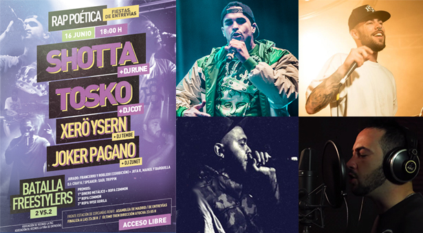 II Edición del 'Rap Poética' en Entrevías: Shotta, Tosko, Xerö Ysern, Joker Pagano y Batalla de Freestylers