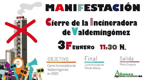 Manifestación a favor del Cierre de la Incineradora de Valdemingómez - 3 de Febrero en Vallecas
