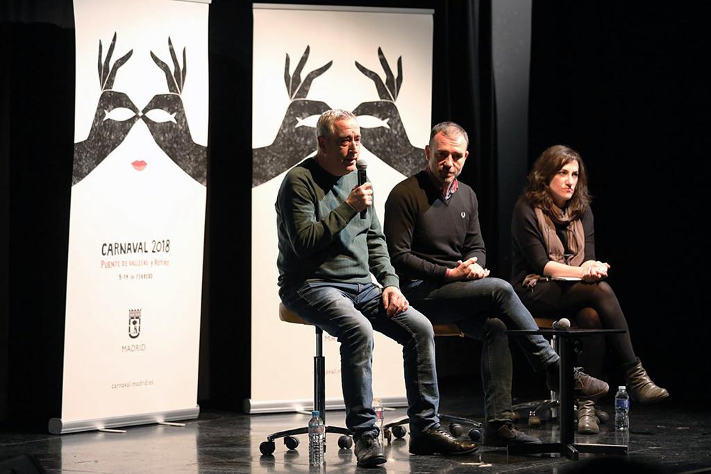 Los concejales de Puente de Vallecas y Retiro, Paco Pérez y Nacho Murgui, respectivamente, y la directora general de Programa y Actividades Culturales del Área de Cultura y Deportes del Ayuntamiento de Madrid, Getsemaní de San Marcos