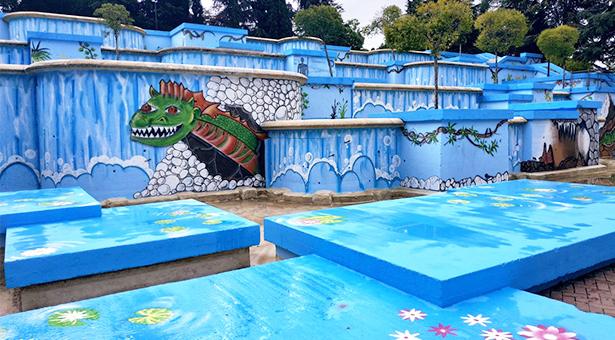 Inauguración del nuevo mural de la fuente de las Cataratas del Parque de Navamures