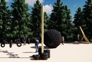 La Colina del Reciclaje utilizará neumáticos abandonados en el parque para instalar parte del mobiliario